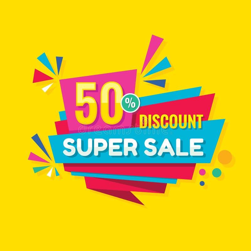Super sprzedaży pojęcia sztandaru projekt Rabat 50% z kreatywnie majcheru Abstrakcjonistyczny geometryczny plakat Specjalna ofert ilustracji