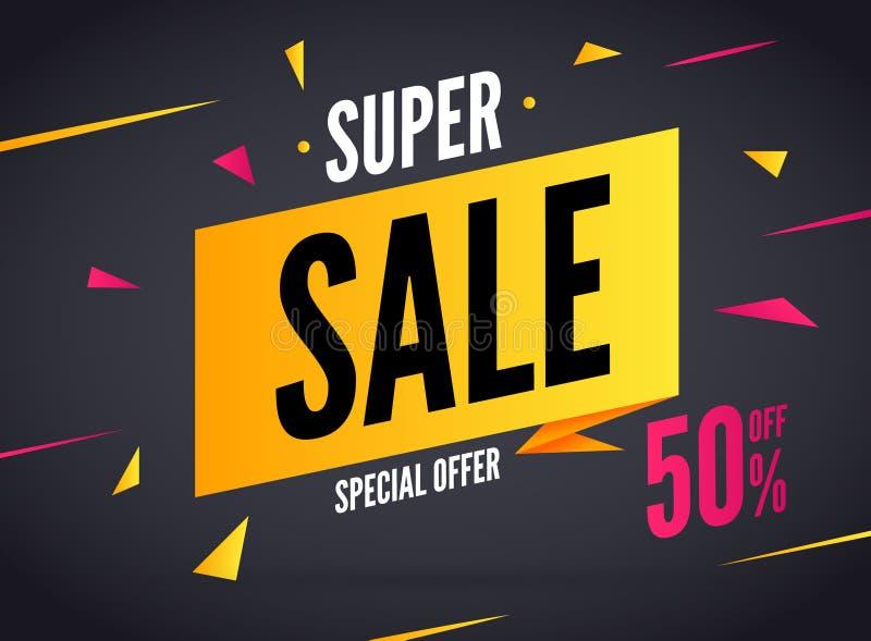 Super sprzedaży specjalna oferta 50 z dyskontowego baner Wektorowy promocja rynku sztandar dla sprzedaży royalty ilustracja