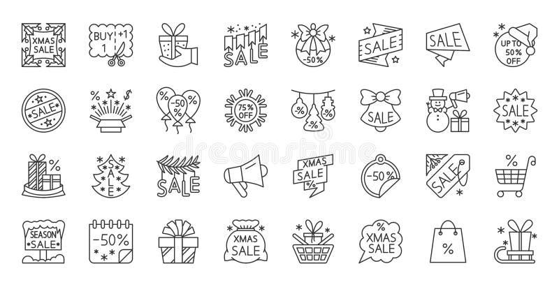 Super sprzedaży transakcji czerni linii ikon wektoru prosty set royalty ilustracja