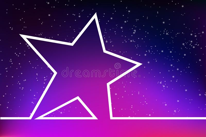 Super star on the background of space. Blank a large star on the background of the starry sky stock illustration