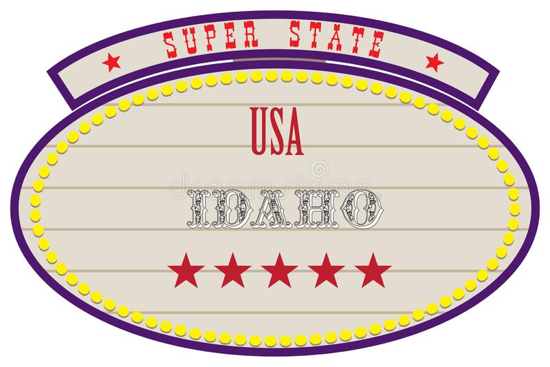 Super State USA - Idaho. Road Retro Index Super State USA - Idaho stock illustration