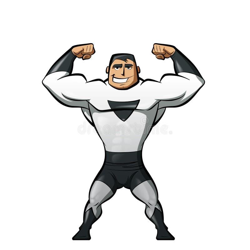 Super sterke held in zwart-wit kostuum in een machtsgebaar stock illustratie