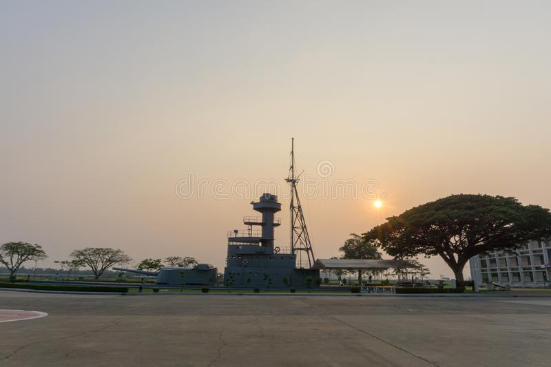 Super structure of HTMS Thonburi, the old Royal Thai Navy heavy gun boat. At Royal Thai naval academy historic park stock photos