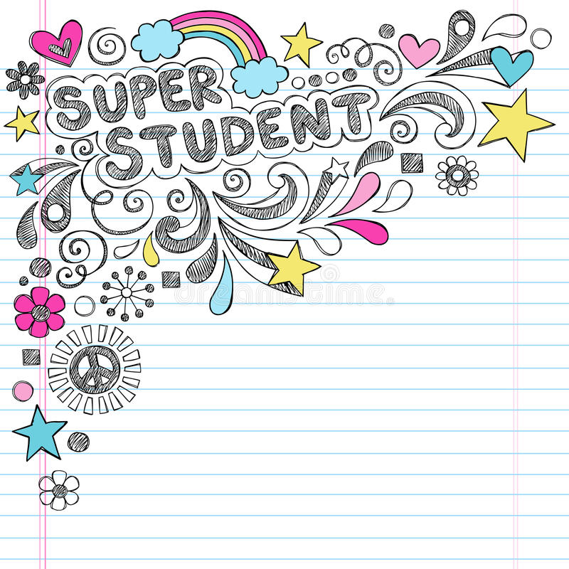 Free Super Student Back To School Sketchy Doodles Vecto Stock Photography - 33482522