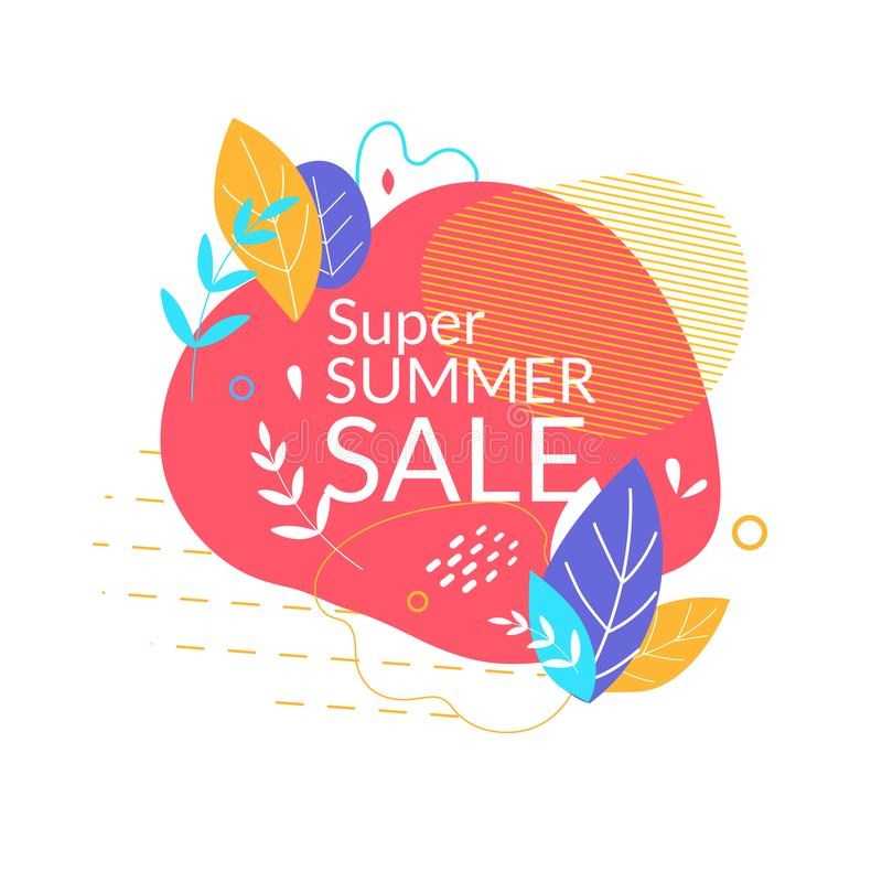 Super Summer Sale Banner with Abstract Shapes,. Elements and Lines on White Background. Summertime Holiday, Festive Shopping and Discount Poster for Store Offer royalty free illustration