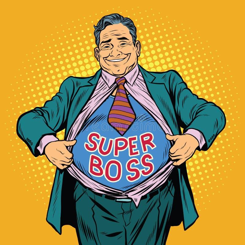Super szef, gruby mężczyzna biznesmena bohater ilustracji