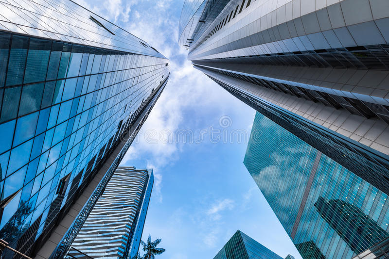 Super tall and luxury facade of modern building., Business downtown. royalty free stock photography
