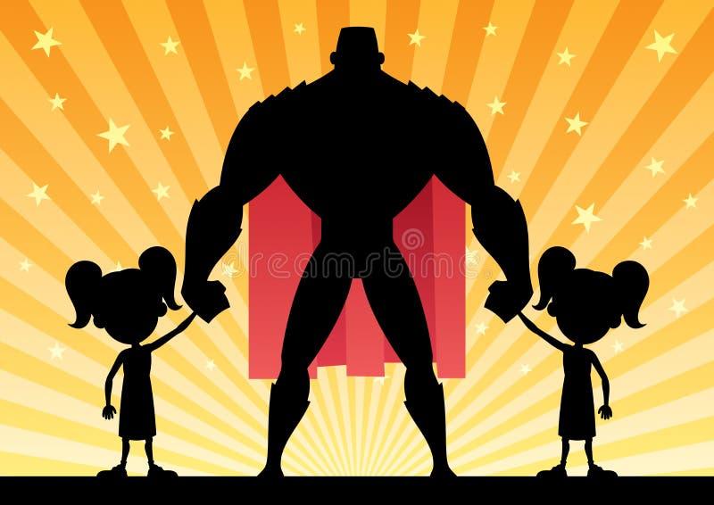 Super 2 tata Bliźniacze dziewczyny ilustracja wektor
