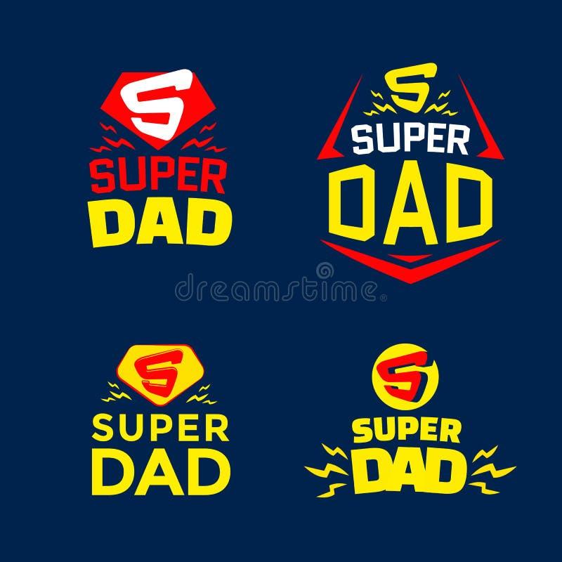 Super tata emblematy ilustracji