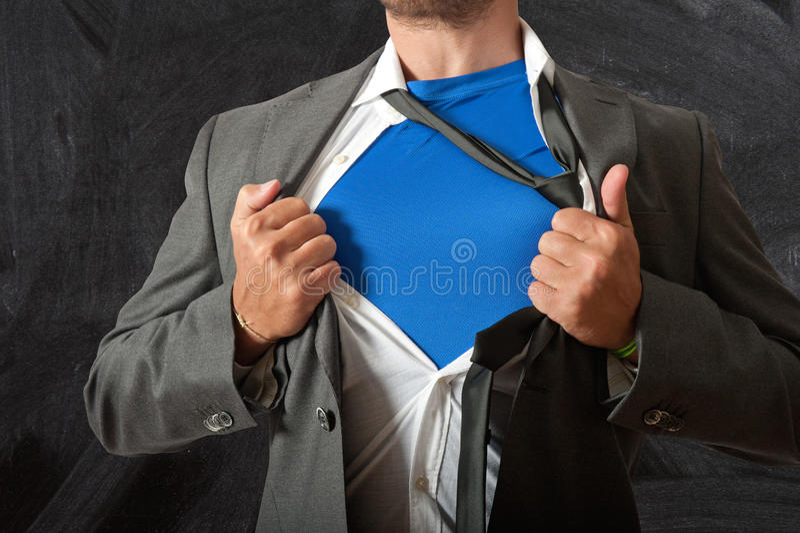 Super teacher. Concept of super teacher at school royalty free stock image