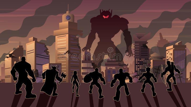 Super Team gegen Evil Robot stock abbildung