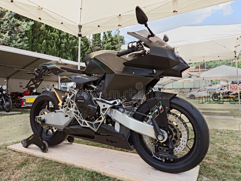 Super technological motorbike Vyrus. Prototype of Italian super technological motorbike Vyrus road version, exposed at motorcycle show of Motoclub i Bradipi royalty free stock image