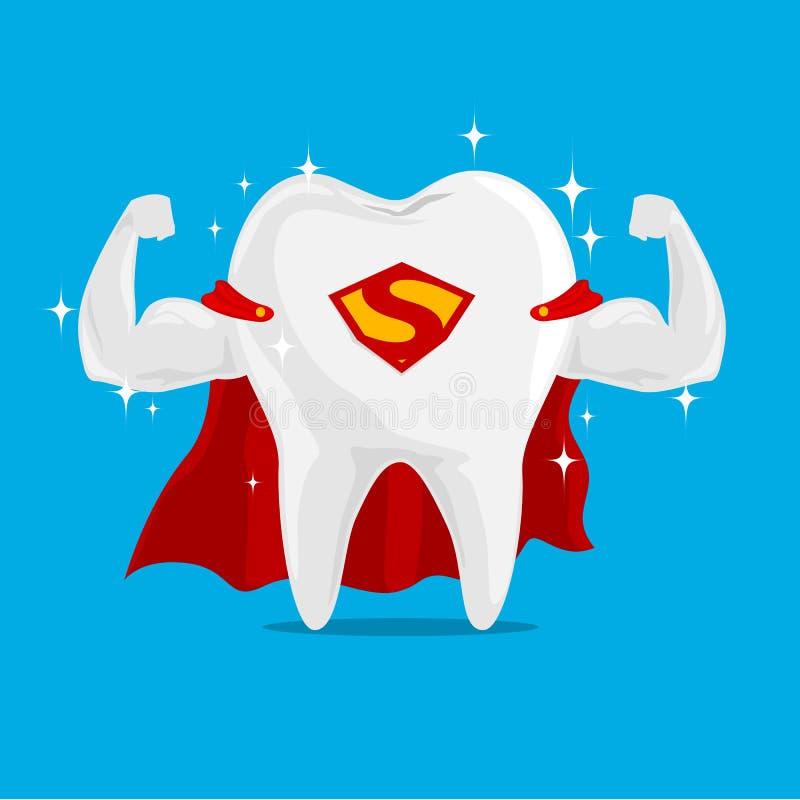 Super Tooth Hero på Solated Background Begreppet mycket starkt tandskydd för barnen vektor illustrationer