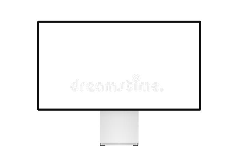 Super trendy realistic thin frame professional monitor mock up with blank white screen isolated. Super trendy realistic thin frame professional monitor mock up stock illustration