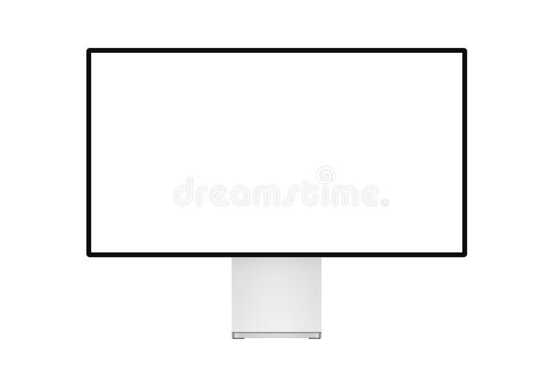 Super trendy realistic thin frame professional monitor mock up with blank white screen isolated. Super trendy realistic thin frame professional monitor mock up royalty free illustration