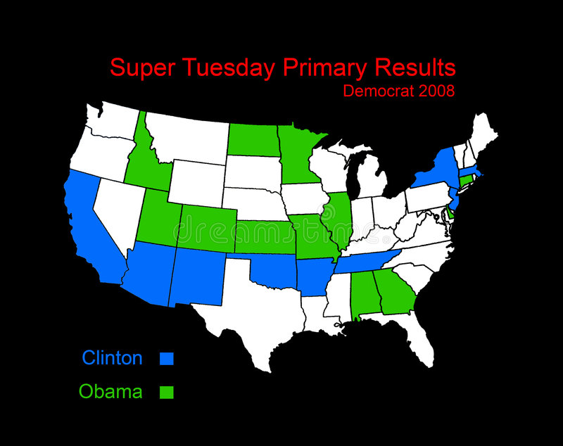 Super Tuesday results map stock illustration