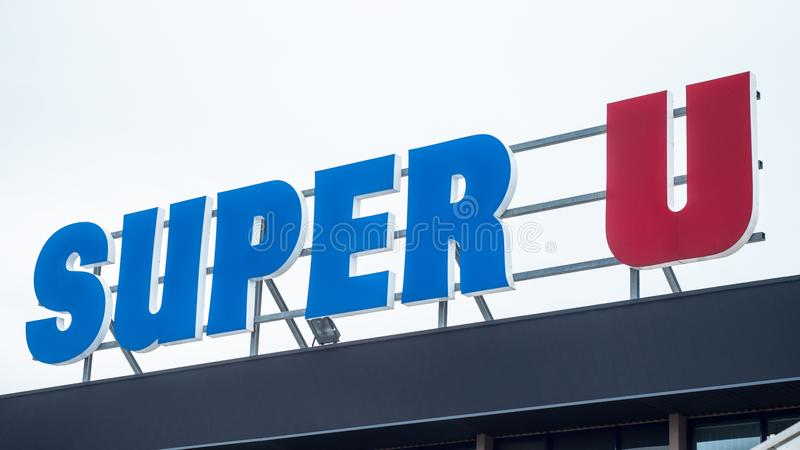 Super U sign on store front, Super U is a french chain of supermarket royalty free stock image