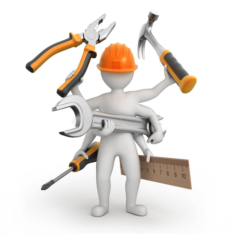 Super universal repairman. Image with a work path royalty free illustration