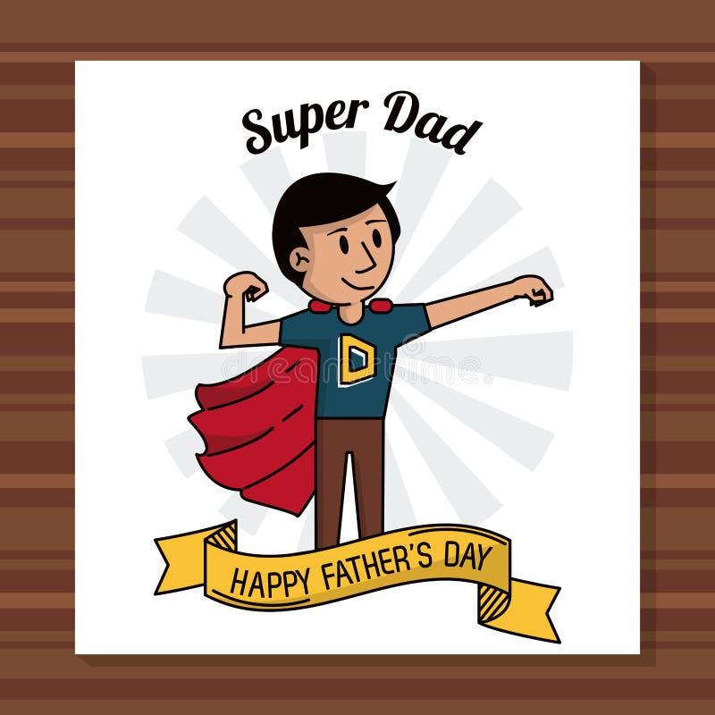 Super van de de dagkaart van papa gelukkige vaders het lintdecoratie vector illustratie