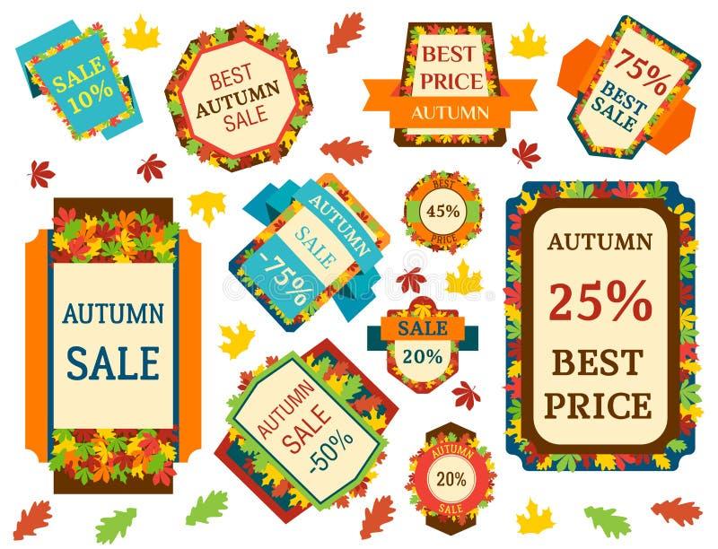 Super van de herfstbanners van de verkoop extra bonus van de van het de bedrijfs tekstetiket de aanbiedings vectorillustratie het royalty-vrije illustratie
