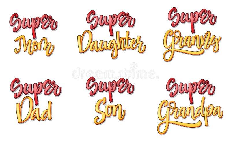 Super vastgestelde grappige de stijlkalligrafie van de familietekst vector illustratie