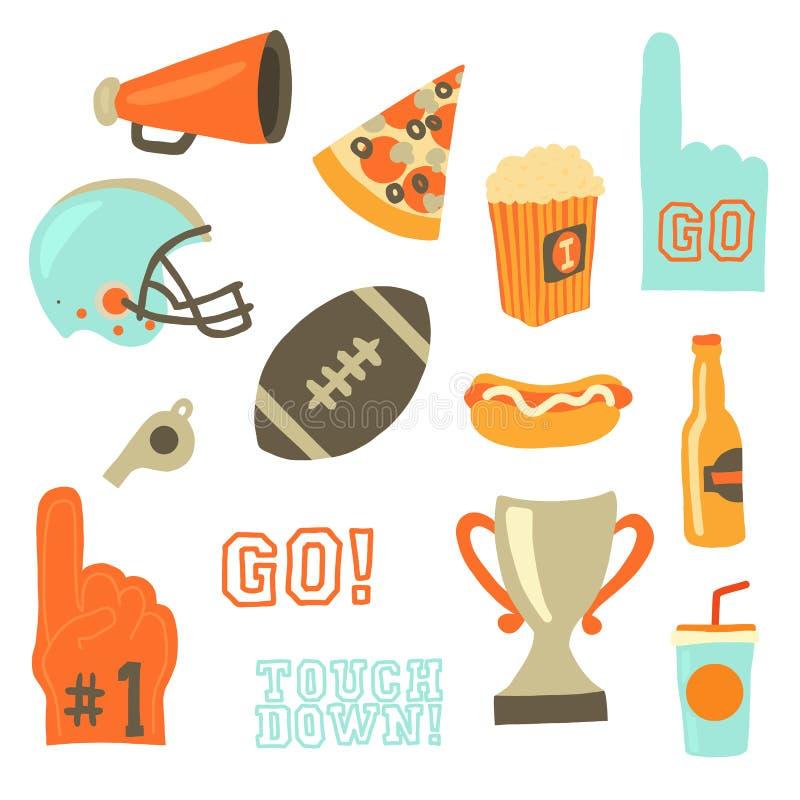 Super vector het pictogramreeks van de kompartij De vieringspictogrammen van sportspelen Amerikaanse voetbal uitstekende retro st stock illustratie