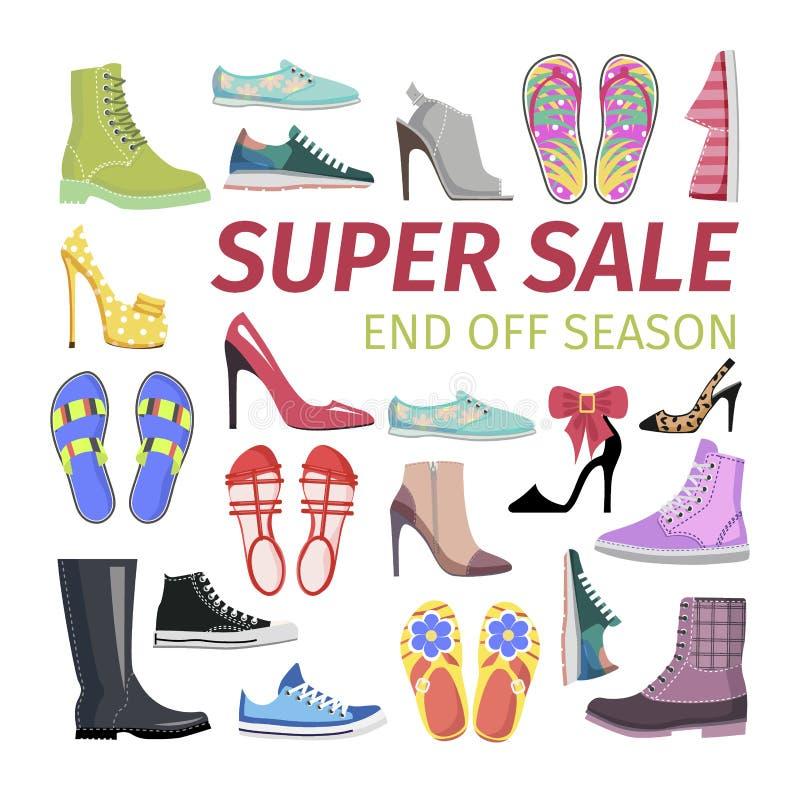 Super verkoop Eind van Seizoen Grote Schoeneninzameling vector illustratie