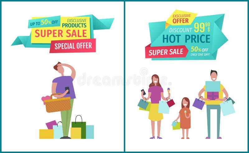 Super Verkoop en Hete Prijs op Geometrische Bandenadvertentie stock illustratie
