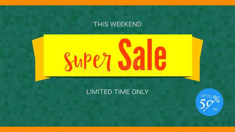Super Verkoop gele banner Kenteken van Vijftig percentenkorting Horizontale affiche voor reclamegebeurtenissen van vakantieverkoo vector illustratie