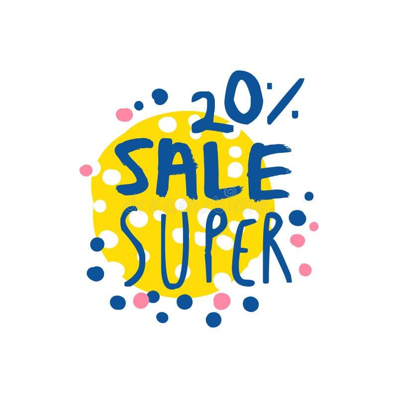 Super verkoop 20 percenten van embleemmalplaatje, speciale aanbiedingetiket, banner stock illustratie