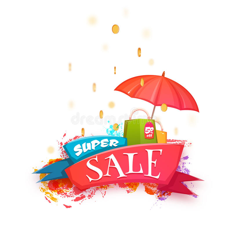 Super verkoopbanner met kleurenlint en muntstukken Vector illustratie royalty-vrije illustratie