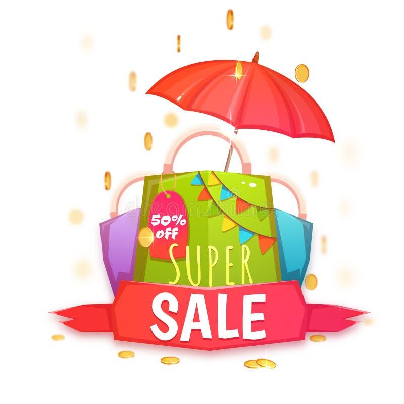 Super verkoopbanner met kleurenpakket en muntstukken Vector illustratie stock illustratie