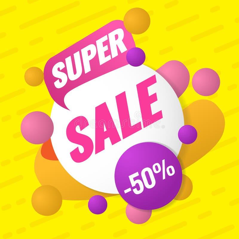 Super verkoopmalplaatje Verkoop en kortingen Tot 50 van Vectorillustratie Het ontwerp van het bevorderingsmalplaatje voor druk of royalty-vrije illustratie