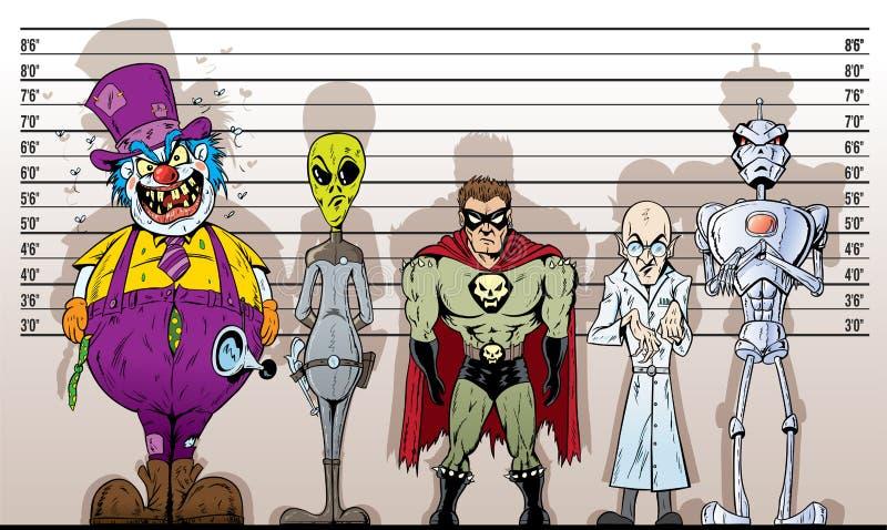 Download Super Villain lineup stock vector. Image of prisoners - 24547151