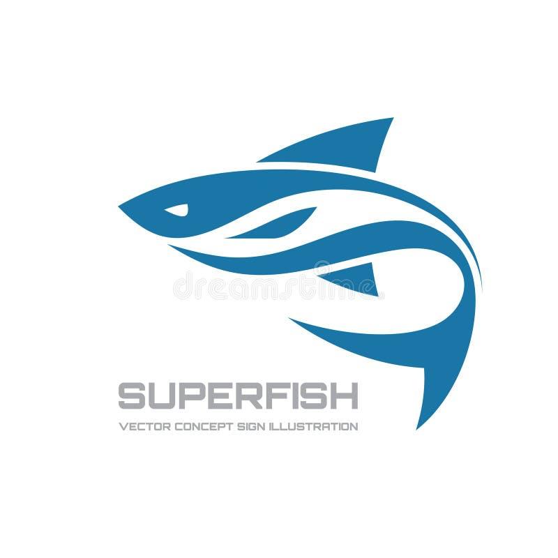 Super vissen - vector het conceptenillustratie van het embleemmalplaatje Haai abstract teken Het element van het ontwerp royalty-vrije illustratie