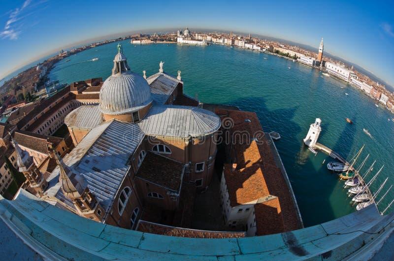 Super wide panoramic view of Venice from San Giorgio Maggiore church stock photography
