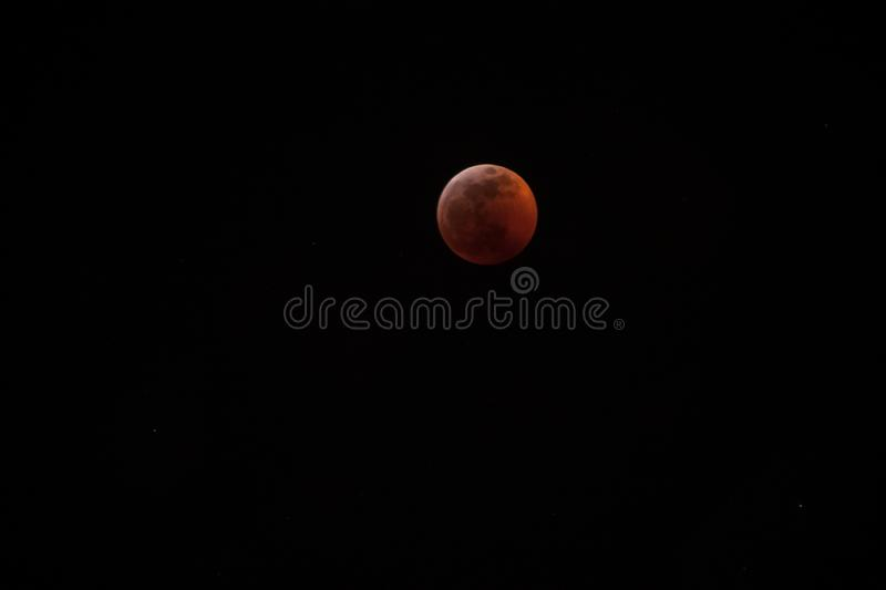 Super wolf blood moon lunar eclipse, nearly fully eclipsed and blood red royalty free stock image