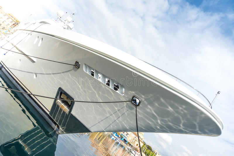 Super yacht berthed royalty free stock image