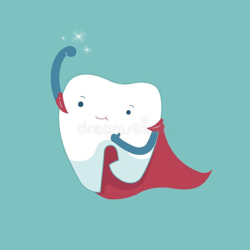 Super ząb zdrowy, stomatologiczny kreskówki pojęcie, obraz royalty free