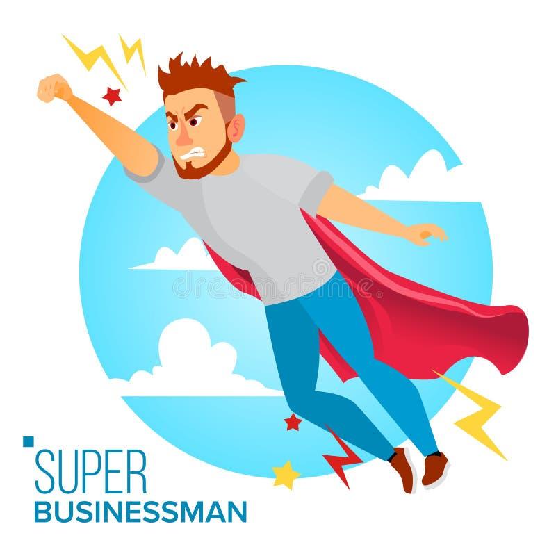 Super Zakenman Character Vector Rode kaap Bedrijfsmens die aan Succes vliegen Het schaak stelt bischoppen voor Creatieve modern royalty-vrije illustratie
