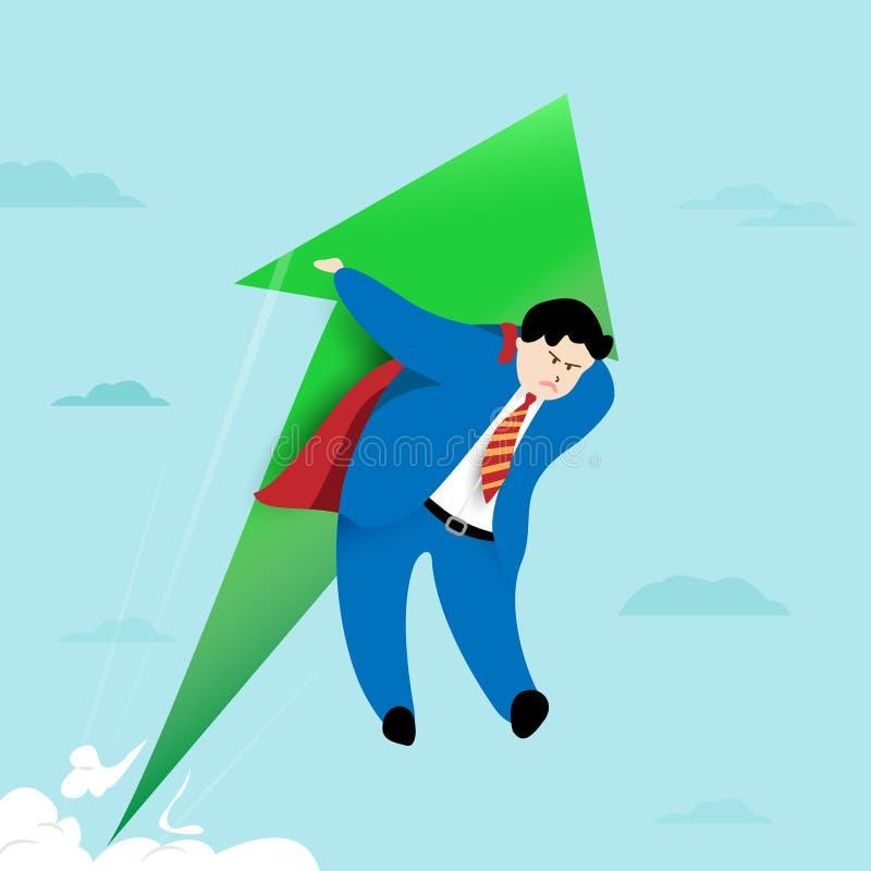 Super zakenman die met pijl vliegen De groei en succesconcept De illustratie van het beeldverhaal royalty-vrije illustratie
