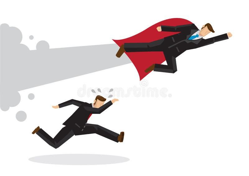 Super Zakenman die voorbij een lopende zakenman vliegen stock illustratie