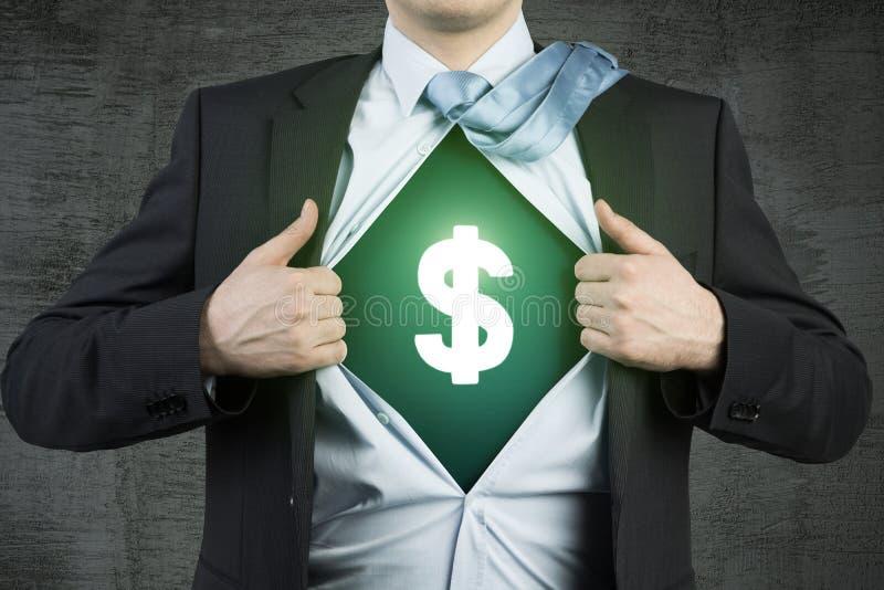 Super zakenman en een dollarteken stock fotografie