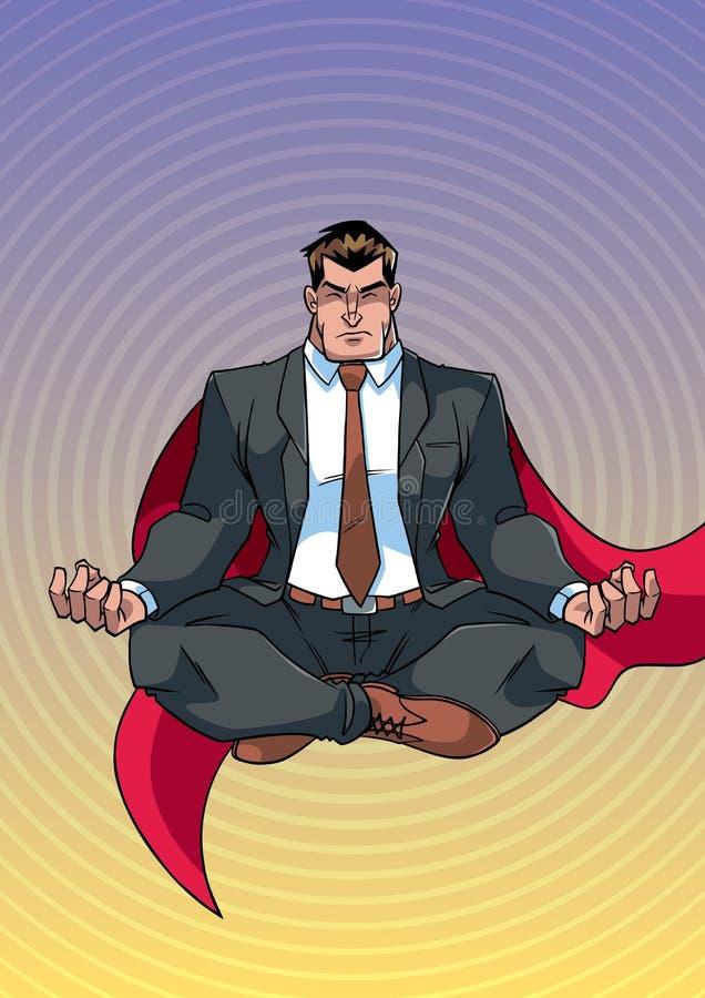 Super Zakenman Meditating vector illustratie
