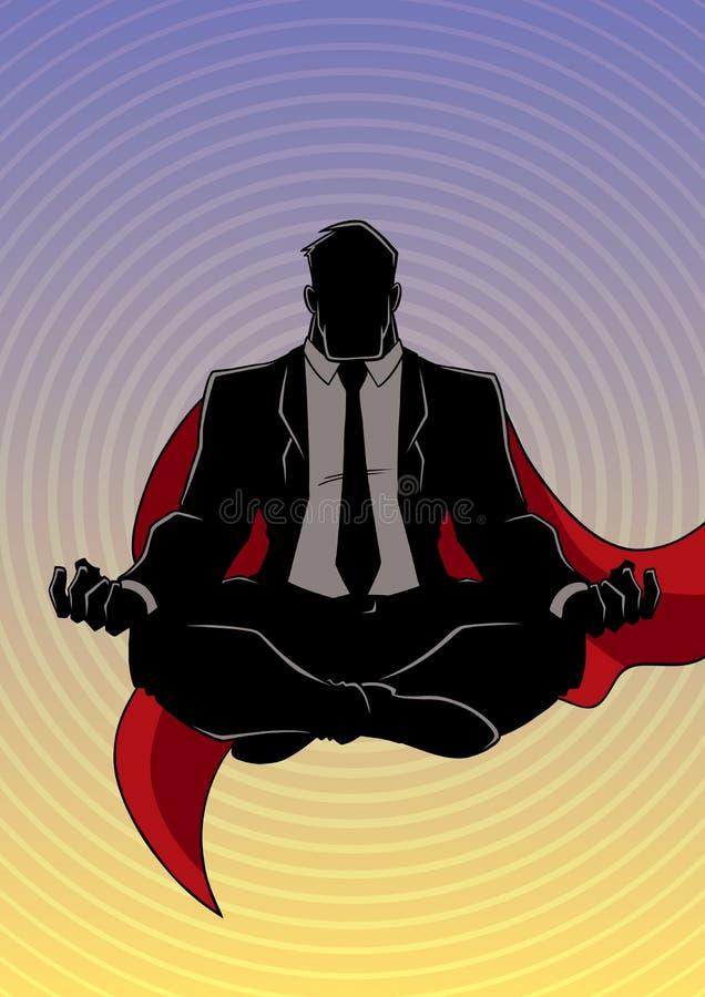 Super Zakenman Meditating Background Silhouette royalty-vrije illustratie