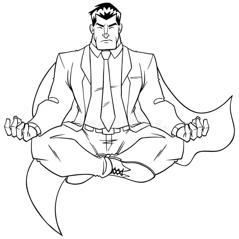 Super Zakenman Meditating Line Art royalty-vrije illustratie