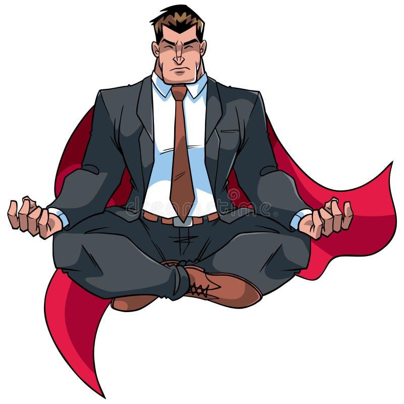 Super Zakenman Meditating op Wit stock illustratie