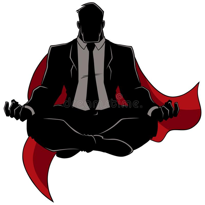 Super Zakenman Meditating Silhouette vector illustratie