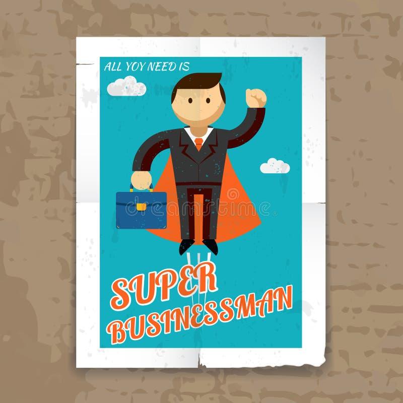 Super Zakenman met Kaap en Grafische Aktentas vector illustratie