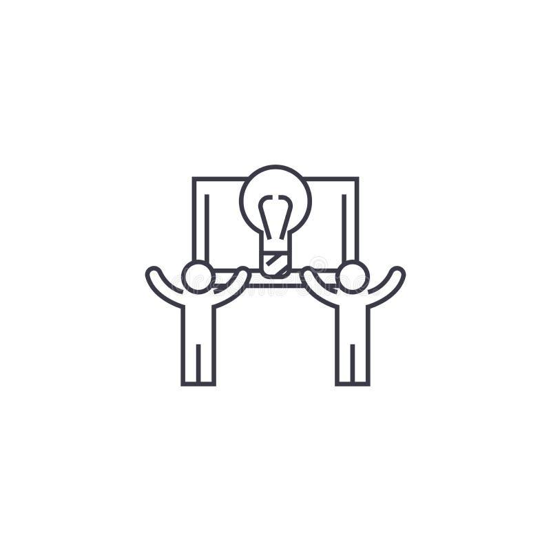 Superado línea icono, muestra, ejemplo del vector en el fondo, movimientos editable stock de ilustración